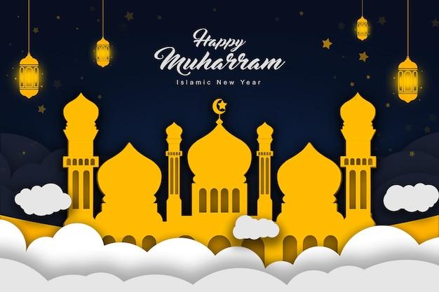 Modelo de banner de ilustração de estilo de papel islâmico muharram feliz ano novo