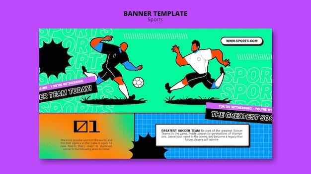 Modelo de banner de ilustração vibrante de futebol