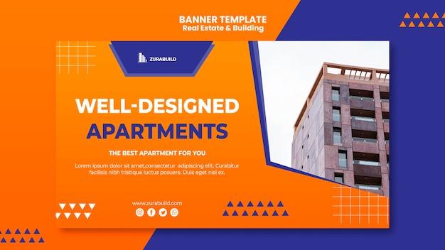 Modelo de banner de imóveis e construção