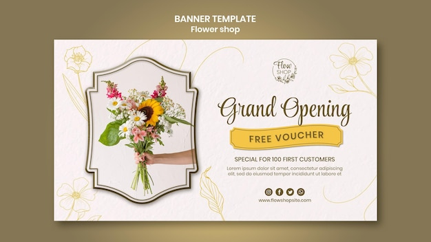 Modelo de banner de inauguração da loja de flores