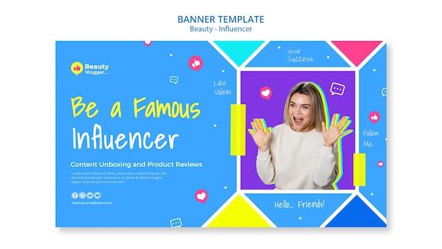 Modelo de banner de influenciador famoso