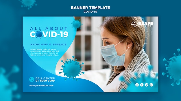 Modelo de banner de informações sobre coronavírus