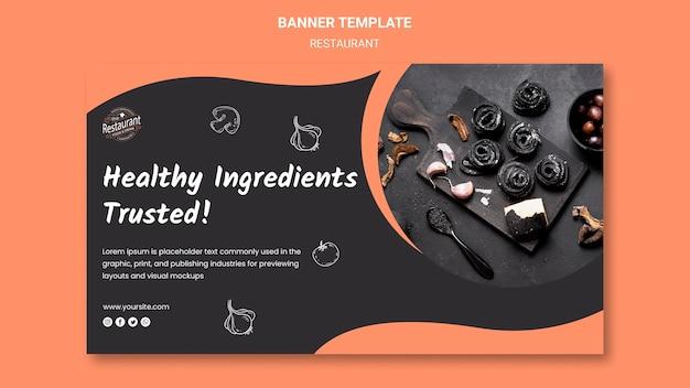 Modelo de banner de ingredientes saudáveis de restaurante