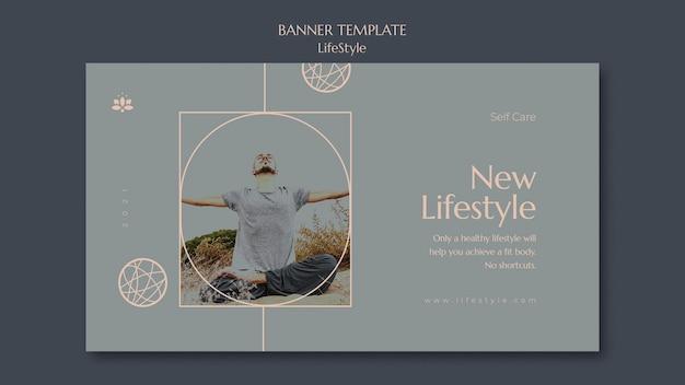 Modelo de banner de inspiração de estilo de vida com foto