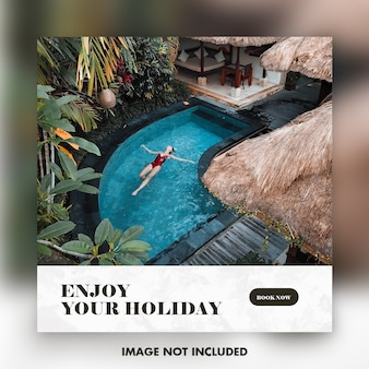 Modelo de banner de instagram de viagens ou férias