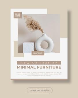 Modelo de banner de instagram post retrato de móveis mínimos