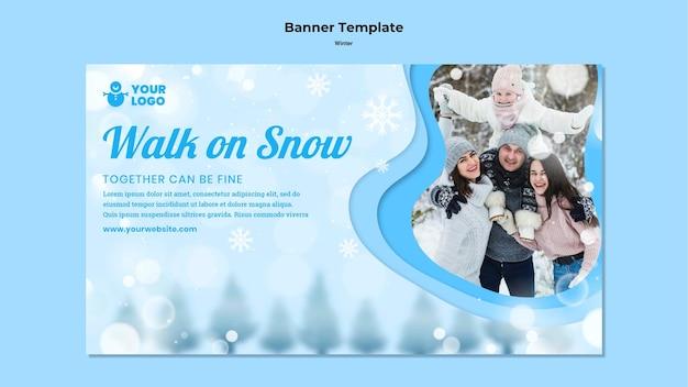 Modelo de banner de inverno para a família