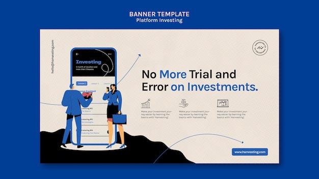 Modelo de banner de investimento de plataforma