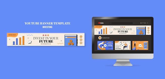 Modelo de banner de investimento do youtube ilustrado