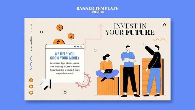 Modelo de banner de investimento ilustrado