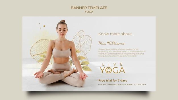 Modelo de banner de ioga ao vivo