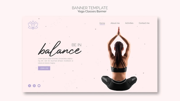 Modelo de banner de ioga com mulher