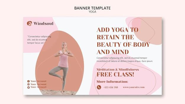 Modelo de banner de ioga e meditação