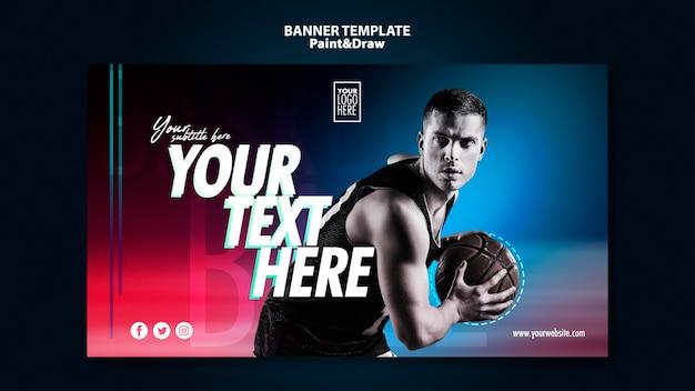 Modelo de banner de jogador de basquete