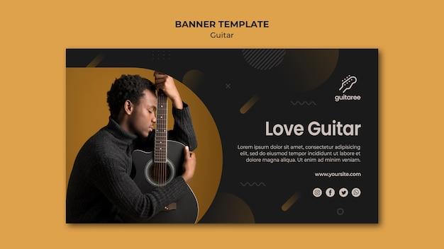 Modelo de banner de jogador de guitarra
