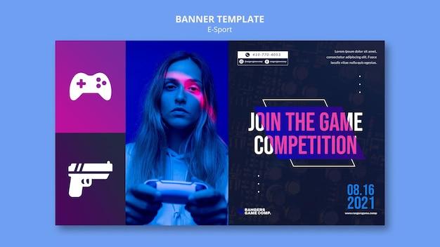 Modelo de banner de jogador de videogame