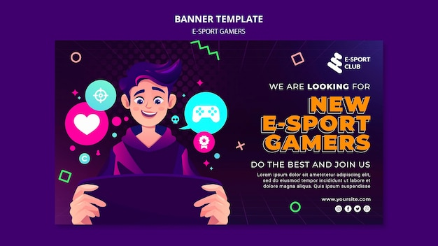 Modelo de banner de jogos de e-sport