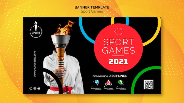 Modelo de banner de jogos de esporte