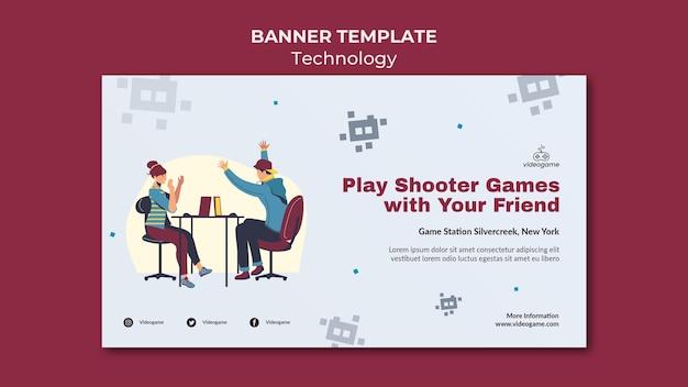 Modelo de banner de jogos de tiro