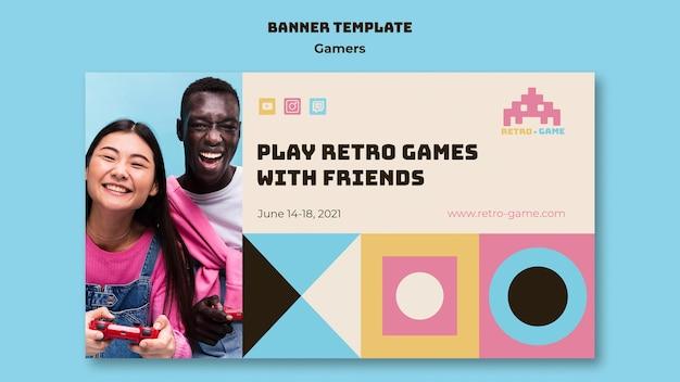 Modelo de banner de jogos retrô
