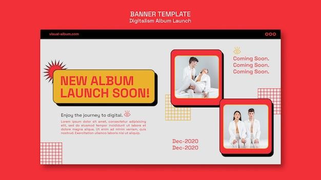 Modelo de banner de lançamento de álbum com fotos