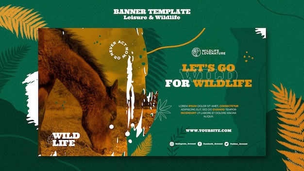 Modelo de banner de lazer e vida selvagem