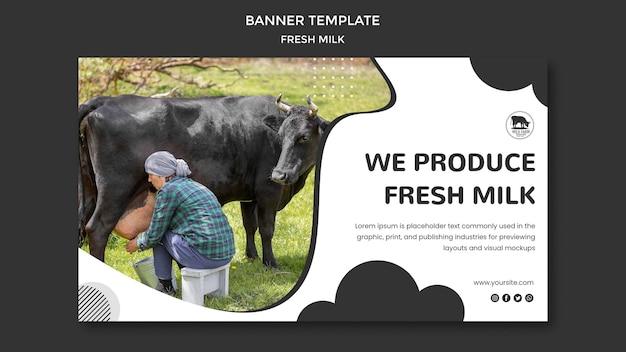 Modelo de banner de leite fresco
