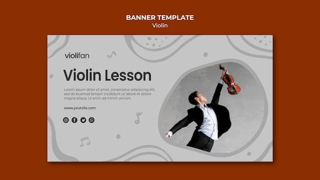 Modelo de banner de lições de homem e violino