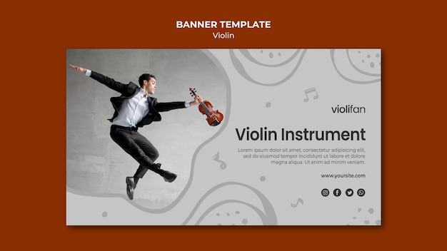 Modelo de banner de lições de instrumentos de violino