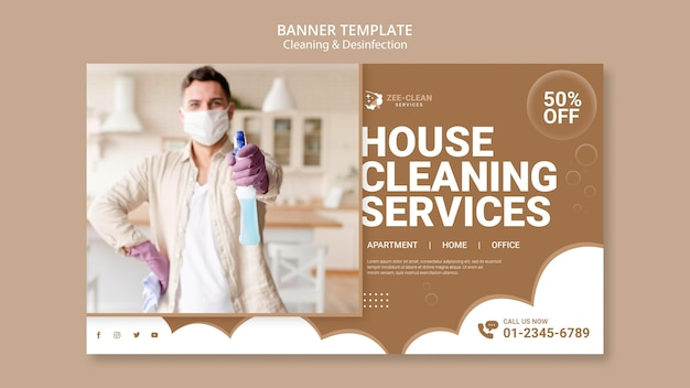 Modelo de banner de limpeza e desinfecção