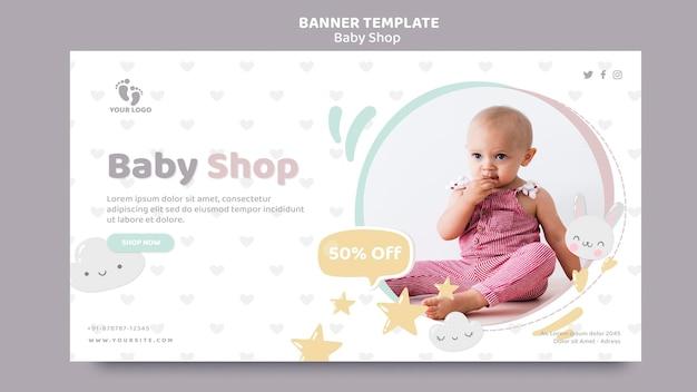 Modelo de banner de loja de bebês