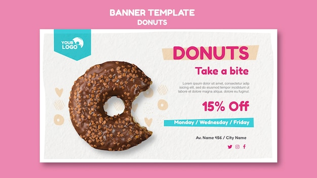 Modelo de banner de loja de donuts