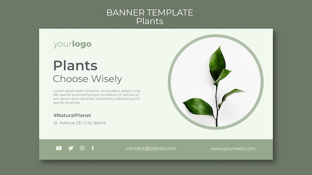 Modelo de banner de loja de plantas