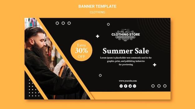 Modelo de banner de loja de roupas em promoção de verão
