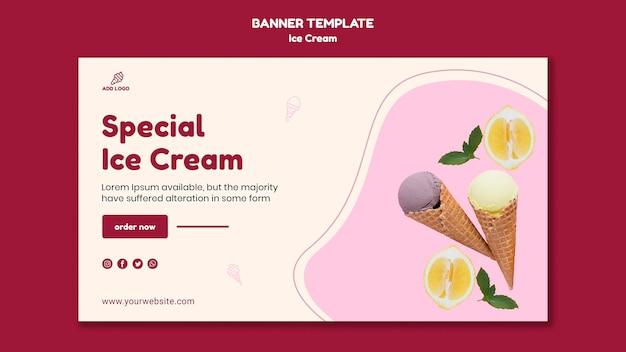 Modelo de banner de loja de sorvete