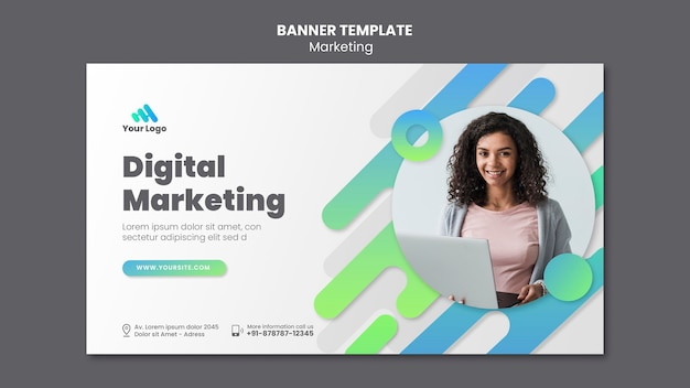 Modelo de banner de marketing digital
