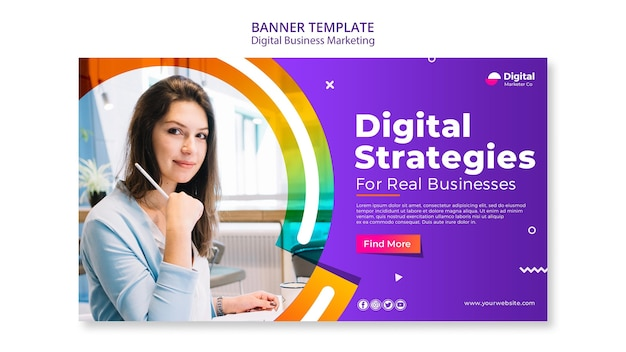 Modelo de banner de marketing empresarial digital