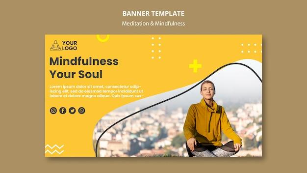 Modelo de banner de meditação e atenção plena