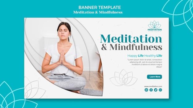 Modelo de banner de meditação