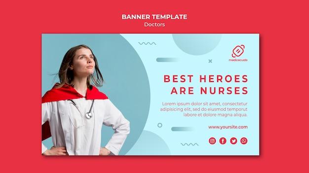 Modelo de banner de melhores heróis são enfermeiros