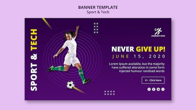 Modelo de banner de menina e bola de futebol