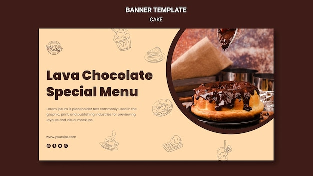 Modelo de banner de menu especial de chocolate lava