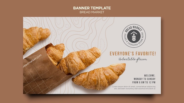 Modelo de banner de mercado de pão
