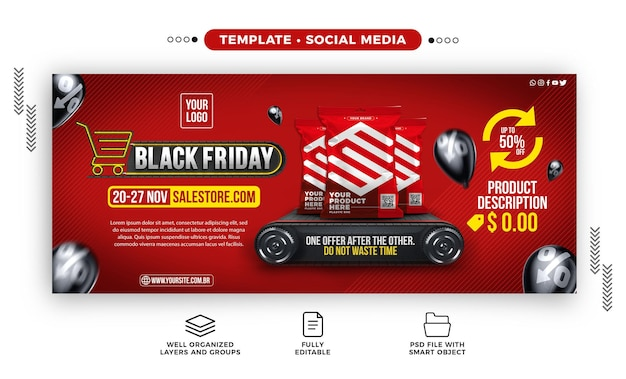 Modelo de banner de mídia social black friday para supermercados com ótimas ofertas