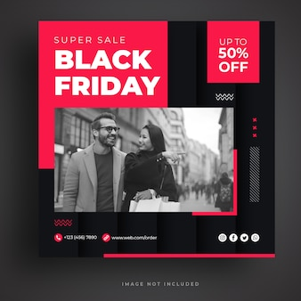 Modelo de banner de mídia social black friday sale