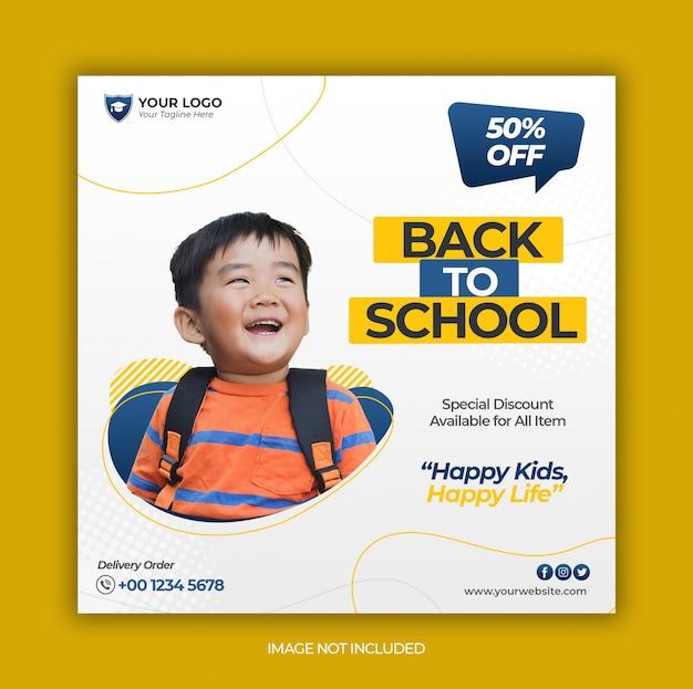 Modelo de banner de mídia social com volta à promoção de venda de escola