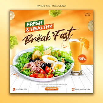 Modelo de banner de mídia social de alimentos frescos e saudáveis