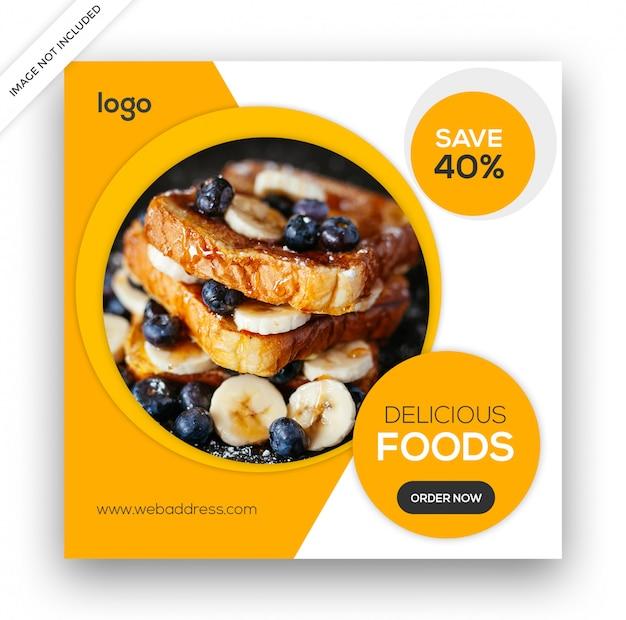 Modelo de banner de mídia social de alimentos
