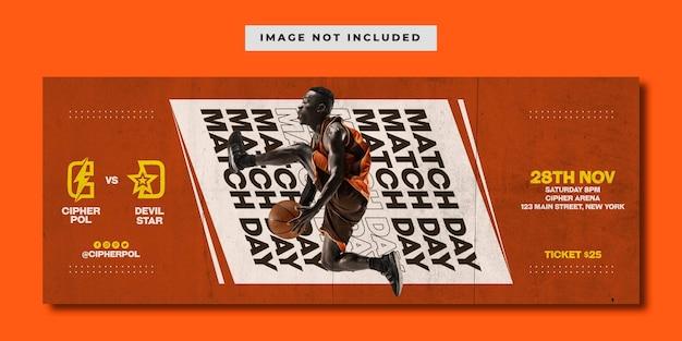 Modelo de banner de mídia social de basquete grunge