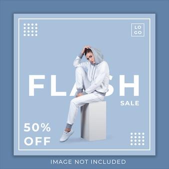 Modelo de banner de mídia social de coleção de moda de venda em flash